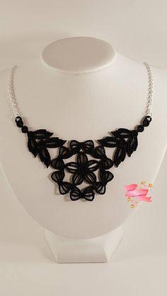 Black lace necklace Black embroidered necklace Black necklace