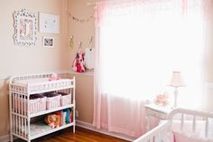 Jenny Lind changing table and Shabby Chic curtains from Target