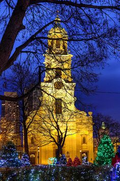 St John's Cathedral with Cathedral Square holiday lights (Downtown MKE Pin of the Day, 11/23/2014).