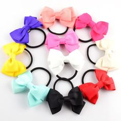 2016 New Girls Tie Up Hair Bands 20C 20pcs/lot 8CM Ribbon Bowknot With Slim Black Bands Kids Hair Beauty Flowers Headwear FS10