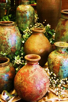 These vases from Mexico are stunning grouped together!