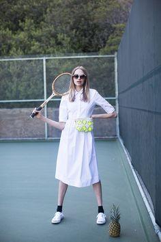 Tennis print canvas fanny pack