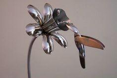 Silverware Art – Learn How to Make a Spoon Ring - Find Fun Art Projects to Do . Silverware Art – L Metal Yard Art, Metal Tree Wall Art, Scrap Metal Art, Metal Artwork, Fork Art, Spoon Art, Welding Art Projects, Cool Art Projects, Metal Projects