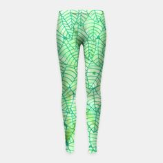 """Green foliage"" Girl's Leggings by Savousepate on Live Heroes #leggings #leggins #pants #kidsapparel #kidsclothing #green #foliage #leaves #nature #pattern #drawing #watercolor"