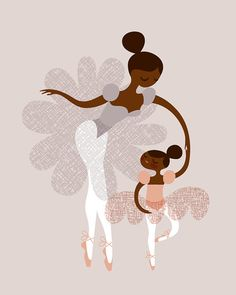THIS REMINDS ME OF DAWN & HER DANCING DAUGHTERS......Ballerina mother and daughter / sisters african by ThePaperNut, $20.00