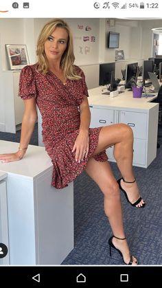 Wrap Front Dress, Wrap Dress Floral, Great Legs, Beautiful Legs, Perfect Legs, Nice Legs, Pernas Sexy, Amanda Holden, Satin Mini Dress