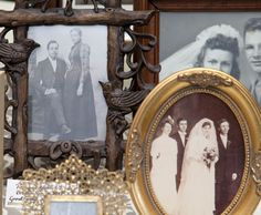 line the giveaway table with framed pictures of ancestors's weddings