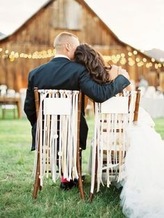 dress up reception chairs with ribbons! So easy and SO pretty!