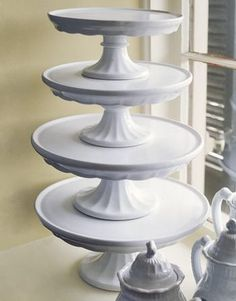 Vintage White Ironstone Cake stands.