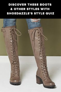 Beige/ grayish long lace up boots Cute Boots, Tall Boots, Snow Boots, Crazy Shoes, Me Too Shoes, High Heels, Shoes Heels, Kinds Of Shoes, Shoe Closet