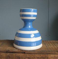t.g. green cornishware | Vintage T.G. Green Cornishware Blue & White Striped Double Egg Cup via ...