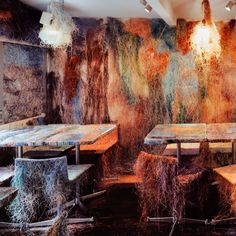 Matted electric cables cover the surfaces of a Tokyo bar by Kengo Kuma