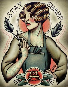Barber Girl Tattoo Art Print por ParlorTattooPrints en Etsy, $26.00