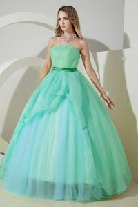 Simple Organza Strapless Floor-length Dress for Quinceanera in Green