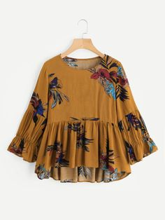 SHEIN offers Floral Print Frill Dip Hem Blouse & more to fit your fashionable needs. Modest Fashion, Hijab Fashion, Girl Fashion, Fashion Dresses, Mode Abaya, Mode Hijab, Indian Blouse, Designs For Dresses, Mode Chic