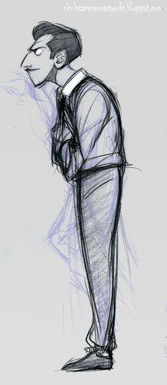 Walt in progress by nicolasketch. Disney Inspired Cartoon Character Sketch