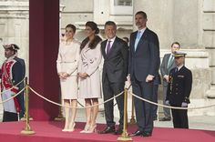 King Felipe VI of Spain (L) and Queen Letizia of Spain (R) receive Argentina's President Mauricio Macri (2R) and wife Juliana Awada (2L) at the Royal Palace on February 22, 2017 in Madrid, Spain.