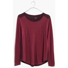 MADEWELL Whisper Cotton Long-Sleeve Crewneck Tee in Colorblock ($30) ❤ liked on Polyvore featuring tops, t-shirts, dark cabernet, cotton crew neck t shirts, long sleeve t shirt, crew neck tee, long sleeve tee and purple t shirt