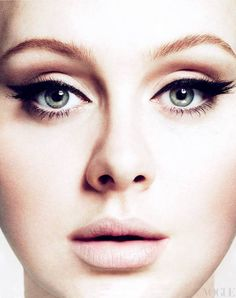killer 60's style winged liner / nude lip. love adele's makeup always. Why can't I ever find lipstick this color??
