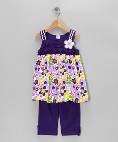 Take a look at this Purple Floral Tunic & Capri Pants - Infant, Toddler & Girls by G Relations on #zulily today!