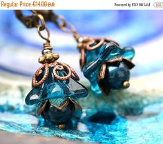 50%off SALE Blue Flower Earrings, Indicolite Blue glass Earrings, Beaded floral earrings, Flower Jewelry, Woodland fairy gift by MayaHoney by BeachSpot on Etsy https://www.etsy.com/listing/105184689/50off-sale-blue-flower-earrings