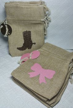 Choose colors! Glitter Boot and bow burlap bags w/ tags for birthday party candy favor treat baby shower decor gender reveal baby shower bachelorette bachelor party twins party cowgirl cowboy wild west wester country theme boots or bows he or she boy or girl pink gold decorations glitter wedding bride groom anniversary quinceanera sweet sixteen