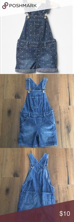 Gap Faded Denim Short Overalls These overalls in person look much more faded and deconstructed than the cover photo. I unrolled them so you could see the full look. Cute style with the polka dots that get progressively lighter from the top to the bottom. Worn and washed only twice. Zero flaws. Great condition. Just in time for summer. GAP Bottoms Overalls