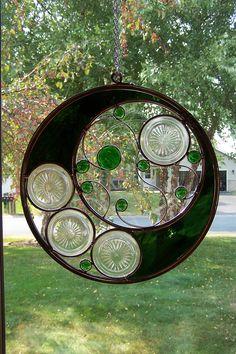 Emerald Green Circular Stained Glass Suncatcher. $125.00, via Etsy.