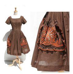 vintage mocha brown cotton day dress