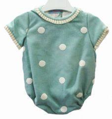 Ranita para bebé en sarde de lana verde con topitos bordados - Vestidos para Bebé y Niña hasta los 4 Años - Mundo Kiriko