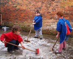 Two - Continuous Provision and Outdoors Add washing up liquid to puddles and sweep! Great physical activity and pretend play outdoorsAdd washing up liquid to puddles and sweep! Great physical activity and pretend play outdoors Eyfs Activities, Nursery Activities, Outside Activities, Gross Motor Activities, Gross Motor Skills, Physical Activities, Outdoor Activities, Activities For Kids, Gruffalo Activities