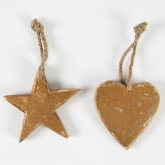 Gold Wooden Star Hanging Decoration - tree decorations