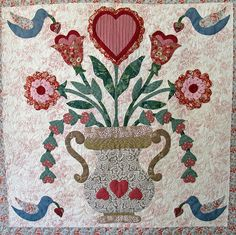 Vintage Valentine block made by Janet Beyea by Janet BA Patchwork Quilt Patterns, Applique Patterns, Applique Designs, Applique Wall Hanging, Quilted Wall Hangings, Wool Applique, Applique Quilts, Red And White Quilts, Quilted Gifts