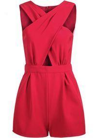 Rot Crossover ausschnitt High Waisted Taschen kurz Jumpsuit Sexy Cut Out Overall Damen Mode Sommer