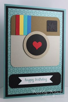 Instagram punch art card using Stampin' Up! - great for teenagers!  Kelly Kent - mypapercraftjourney.com