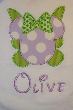 Disney Mickey Mouse Ears Appliquéd Shirts or Onesies-- Girl/Princesses via Etsy Tinker Bell