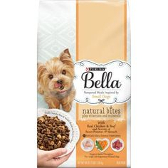 Purina Bella Natural Bites Plus Vitamins and Minerals with Real Chicken and Beef and Accents of Sweet Potatoes and Spinach Adult Dry Dog Food, 3 lb Bag