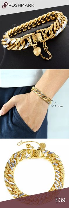 Brand New Cuban link gold filled men's bracelet NWT Brand New Cuban link silver gold filled unisex bracelet. Check out my closet, we have a variety of women's MK Micheal Kors Lululemon Free People Lucky Brand jeans Coach Pink VS Victoria Secret handbags 👜 purse 👛 shoes 👠 sandals Gold, silver black chocker fashion jewelry pineapple 🍍 bracelet earrings dresses 👗 tops 👚 skirts bags leggings Beauty & more... Fast shipper! Offers 30% OFF discount. FREE GIFT 🎁 with