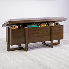 Sun Room kids bench at craft area instead of chairs (has toy storage) - Land of Nod Archive Toy Box (Java)