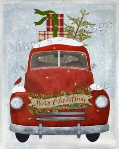 Vintage Merry Christmas Rustic Red Truck Print on Fabric Quilting Sewing FB 275 Christmas Red Truck, Blue Christmas Decor, Christmas Picks, Christmas Canvas, Christmas Paintings, Christmas Table Decorations, Vintage Christmas, Christmas Crafts, Merry Christmas