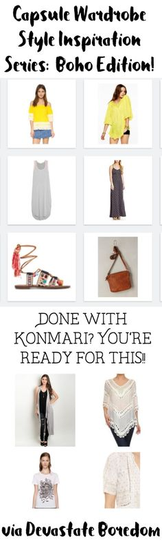 Love the boho look! Such awesome capsule wardrobe ideas... How to Create a Dreamy, Breezy, Bohemian Capsule Wardrobe - Minimalist Fashion Inspirational Ideas - Deciding Your Personal Style and Figuring Out A Capsule Wardrobe! via Devastate Boredom