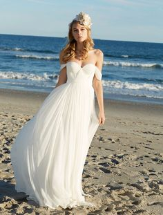 This popular beach chiffon summer wedding dress features off-the-shoulder neckline, elegant A-line long bridal dress with low V back.