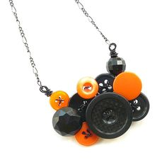 Halloween Orange and Black Button Necklace by buttonsoupjewelry, $27.00