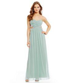 Jodi Kristopher Wrap Bodice Beaded Trim Long Dress