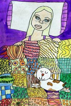 Klimt inspired 3rd grade self portraits - line design in quilt