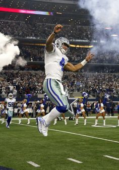 Dallas Cowboys Dak Prescott leaps before he is introduced during NFL divisional playoff game against Green Bay Packer Jan 15, 2017 (Keep leaping Dak; whether you're up or down)