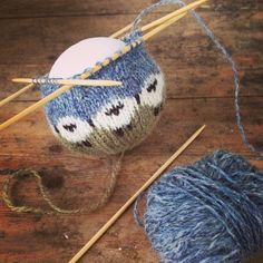 """This mornings """"work"""" - so much to to do but knitting this sheep bauble was so much more appealing. #knitting"""