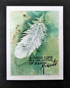 happy moments feather card by Sallie (hobbydujour)