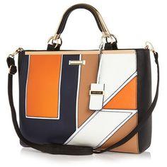River Island Navy geo print tote handbag ($38) ❤ liked on Polyvore featuring bags, handbags, tote bags, purses, river island, сумки, sale, navy tote, navy handbag and geometric purse