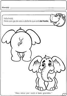 ATIVIDADES CONCEITOS: DE FRENTE E DE COSTAS | Cantinho do Educador Infantil